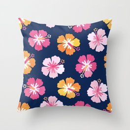 CANDY COLORED HIBISCUS on NAVY Throw Pillow