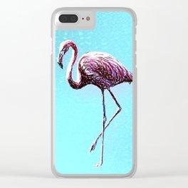 Lone Flamingo Clear iPhone Case