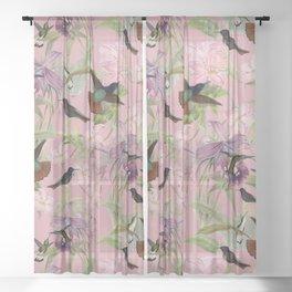 Vintage & Shabby Chic - Hummingbird tropical Jungle Flowers Garden Pattern Sheer Curtain