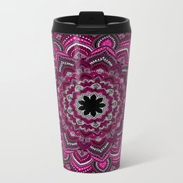 Pink Lace Mandala Metal Travel Mug
