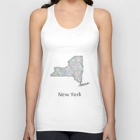 new york map Tank Tops featuring New York map by David Zydd