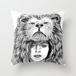 Lion Lady Throw Pillow