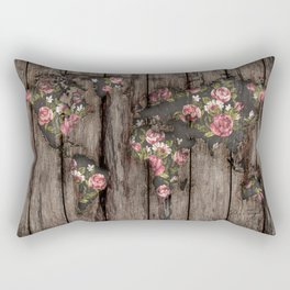 Wood Flowers Mapamundi Rectangular Pillow