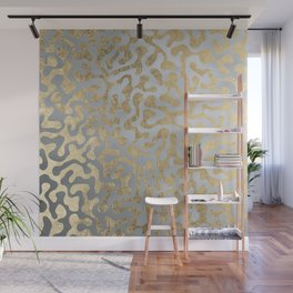Modern elegant abstract faux gold silver pattern Wall Mural