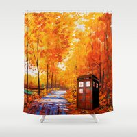 marauders Shower Curtains featuring Tardis Autumn Art Painting by Kesen