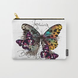 Fashion art print with colorful tropical butterly Carry-All Pouch