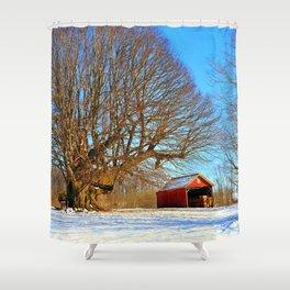 Snow Yard, Yashica C, Ektar 100, Film, Medium Format Shower Curtain