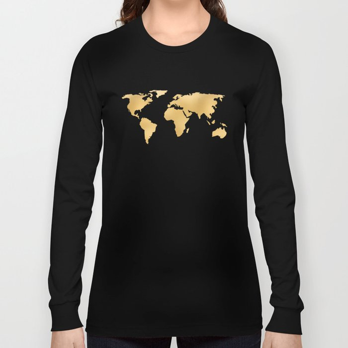 World Map Deep Gold Rush Long Sleeve T-shirt