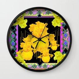 Black-Purple-Gold Iris Garden  Pattern  Design. Wall Clock