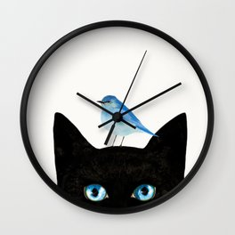 Cat and Bird Wall Clock