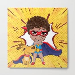 Super Boy Comic Pattern Metal Print