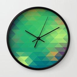 Green Happy Triangles Wall Clock
