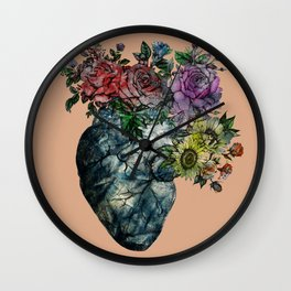 Flowered Heart old version Wall Clock