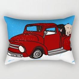 Best Labrador Buddies In Old Red Truck Rectangular Pillow
