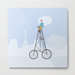 The World's Tallest Bicycle The Eiffel Tower Bike Metal Print