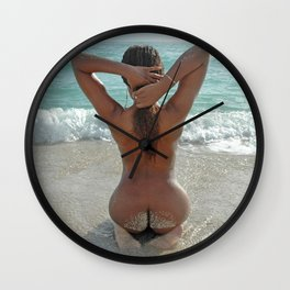 3583 Beautiful Naked Dark Skin Girl Sandy Butt Nude Beach Sand Surf Photograph by Chris Maher Wall Clock