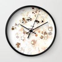 emma stone Wall Clocks featuring Emma Stone by Rene Alberto