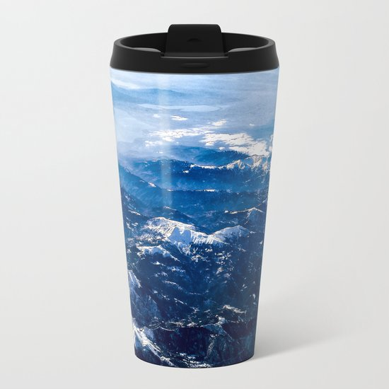 Mountains with snow winter nature Metal Travel Mug