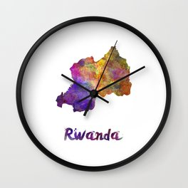 Rwanda in watercolor Wall Clock