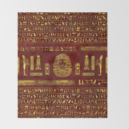 Golden Egyptian Sphinx on red leather Throw Blanket