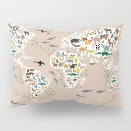 Cartoon animal world map, back to schhool. Animals from all over the world rosybrown background Pillow Sham