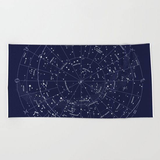 Constellation Map Indigo Beach Towel