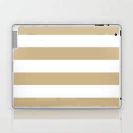 Christmas Gold and White Tent Stripes Laptop & iPad Skin
