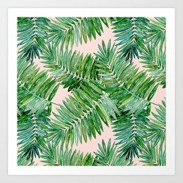Green palm leaves on a light pink background. Kunstdrucke