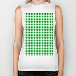 Gingham Green and White Pattern Biker Tank