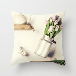 Flying pink tulips Throw Pillow