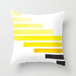 Yellow Minimalist Mid Century Modern Inca Watercolor Stripes Staggered Symmetrical Pattern Throw Pillow