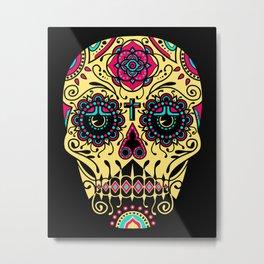 Deco Sugar Skull 3 Metal Print