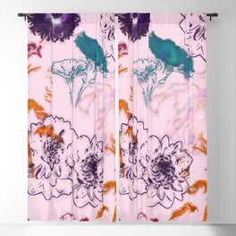 fall floral pink Blackout Curtain