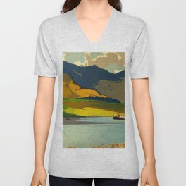 Loch Awe Vintage Mid Century Art Travel Poster British Railways Colorful Landscape Unisex V-Neck