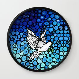 Peaceful Journey - Vibrant white dove by Labor Of Love artist Sharon Cummings. Wall Clock