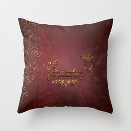 Music, clef with key notes on red background Throw Pillow