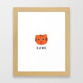 tiger says rawr! Framed Art Print