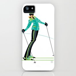 Ski Girl Lean Back iPhone Case