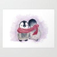 cuddle Art Prints featuring Penguin cuddle by Petra van Berkum