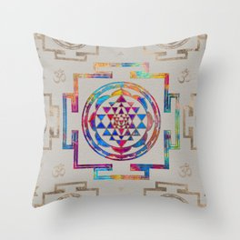 Sri Yantra  / Sri Chakra in color on canvas Throw Pillow