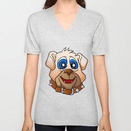 bulldog face. Unisex V-Neck