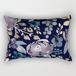 Fall Flowers + Berries on Navy Blue  Rectangular Pillow