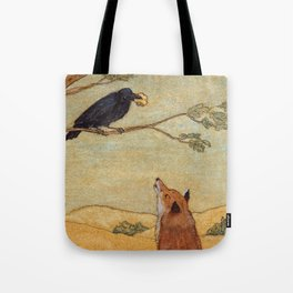 Fox and Crow, Aesop's Fable Illustration in the style of Arthur Rackham and Howard Pyle Tote Bag