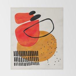 Mid Century Modern Abstract Colorful Art Yellow Ball Orange Shapes Orbit Black Pattern Decke