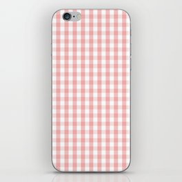 Large Lush Blush Pink and White Gingham Check iPhone Skin