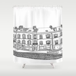 Street Corner in Le Mans, France Shower Curtain