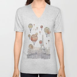 Voyages Over Paris ~ Refresh Unisex V-Neck