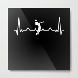 Volleyball Heartbeat - Volley ball Gift Metal Print