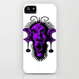 Purple Fierce Primal Tribal Mask, Wild Mask, Super Smooth Super Sharp 13500px x 10125px x PNG iPhone Case