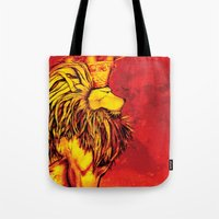 the lion king Tote Bags featuring Lion King by RICHMOND ART STUDIO